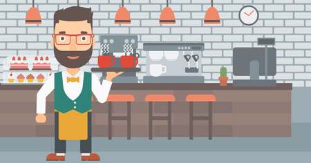 lenght: A hipster waiter with the beard holding a tray with cups of tea or coffee at the bar vector flat design illustration. Horizontal layout. Illustration