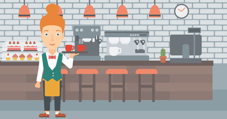 lenght: A charming waiteress holding a tray with cups of tea or coffee at the bar vector flat design illustration. Horizontal layout.