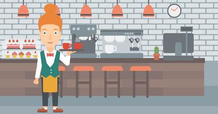 Un charmant waiteress tenant un plateau avec des tasses de thé ou de café au bar vecteur design plat illustration. Présentation horizontale. Banque d'images - 56187719
