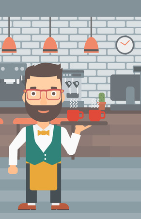 lenght: A hipster waiter with the beard holding a tray with cups of tea or coffee at the bar vector flat design illustration.  Vertical layout.