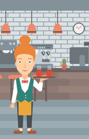 lenght: A charming waiteress holding a tray with cups of tea or coffee at the bar vector flat design illustration. Vertical layout. Illustration