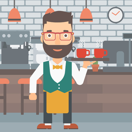lenght: A hipster waiter with the beard holding a tray with cups of tea or coffee at the bar vector flat design illustration. Square layout.