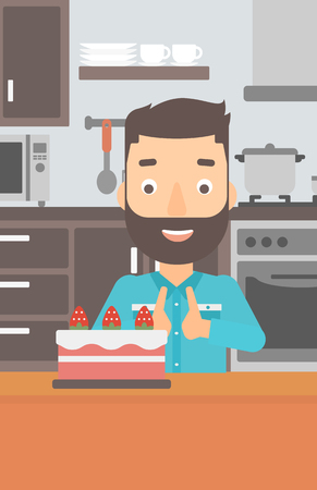 A happy hipster man with the beard standing in the kitchen and looking with passion at a big cake vector flat design illustration. Vertical layout.