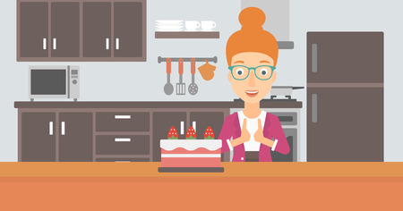 A happy woman standing in the kitchen and looking with passion at a big cake vector flat design illustration. Horizontal layout. Ilustração