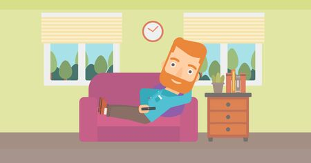 A man lying on a sofa and watching tv with a remote control in his hand vector flat design illustration. Horizontal layout.