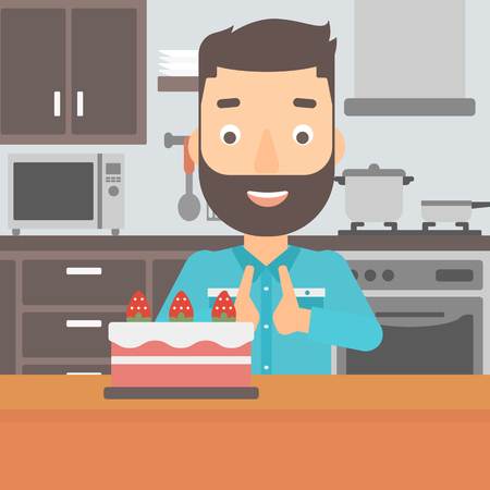 A happy hipster man with the beard standing in the kitchen and looking with passion at a big cake vector flat design illustration. Square layout.