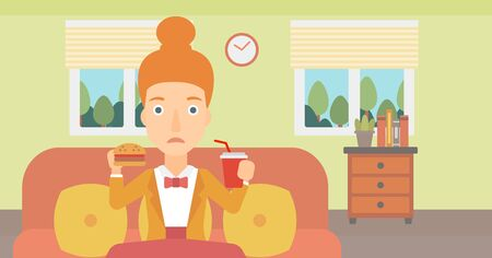 lunch room: A woman sitting on a sofa while eating hamburger and drinking soda on the background of living room vector flat design illustration. Horizontal layout. Illustration