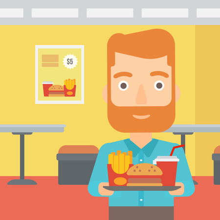 A hipster man with the beard holding a tray full of junk food on a cafe background vector flat design illustration. Square layout. Stock Vector - 56187938