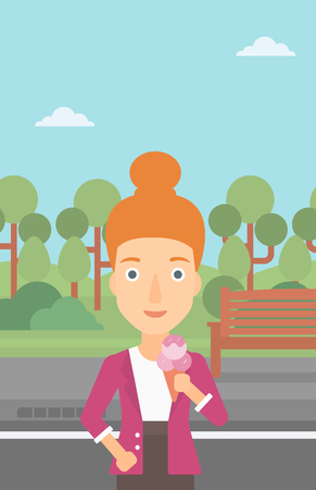 cornet: A woman holding a big icecream in hand on a park background vector flat design illustration. Vertical layout. Illustration