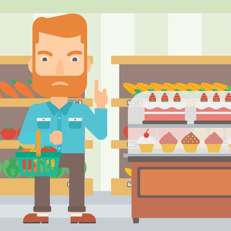 refusing: A hipster man with the beard holding a basket full of healthy food and refusing junk food on a supermarket background vector flat design illustration. Square layout.