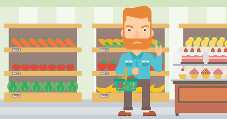 refusing: A hipster man with the beard holding a basket full of healthy food and refusing junk food on a supermarket background vector flat design illustration. Horizontal layout. Illustration