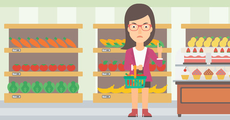 refuse: A woman holding a basket full of healthy food and refusing junk food on a supermarket background vector flat design illustration. Horizontal layout. Illustration