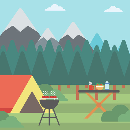 camping site: Background of camping site with tent and barbecue vector flat design illustration. Square layout.