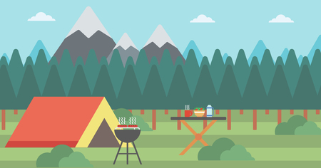 camping site: Background of camping site with tent and barbecue vector flat design illustration. Horizontal layout.
