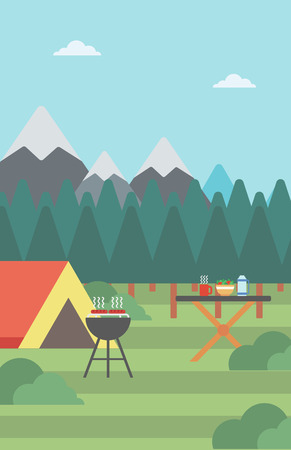 camping site: Background of camping site with tent and barbecue vector flat design illustration. Vertical layout.