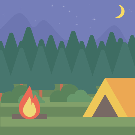camping site: Background of camping site with tent vector flat design illustration. Square layout.