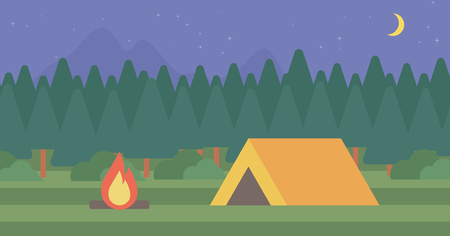 camping site: Background of camping site with tent vector flat design illustration. Horizontal layout. Illustration