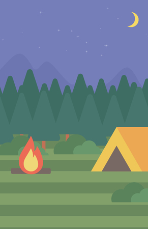 camping site: Background of camping site with tent vector flat design illustration. Vertical layout.