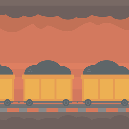underpass: Background of underground tunnel with mining cart full of coal vector flat design illustration. Square layout. Illustration