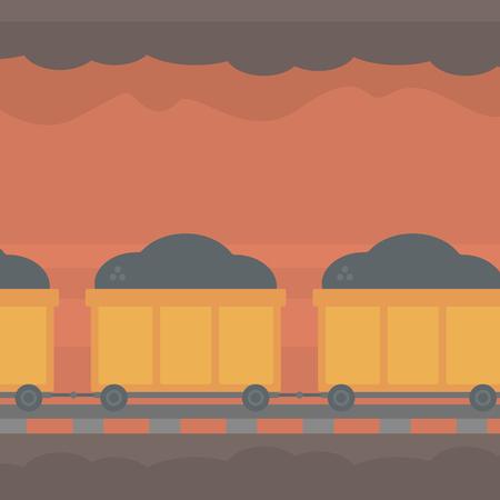 underground: Background of underground tunnel with mining cart full of coal vector flat design illustration. Square layout. Illustration