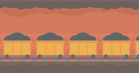 underground: Background of underground tunnel with mining cart full of coal vector flat design illustration. Horizontal layout.