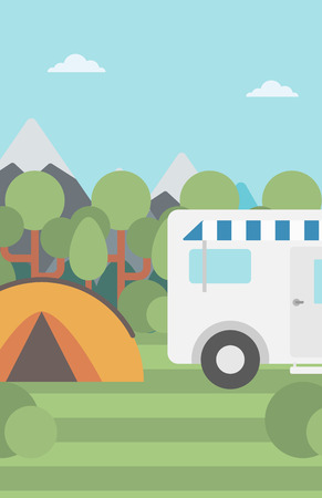 motorhome: Background of motorhome and tent in the forest vector flat design illustration. Vertical layout. Illustration
