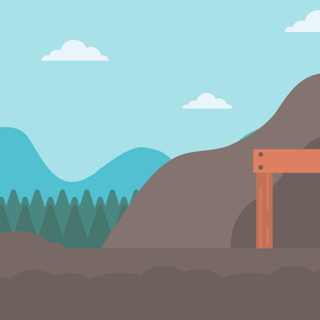 mine site: Background of entrance to the mining tunnel vector flat design illustration. Square layout. Illustration