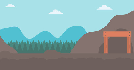 Background of entrance to the mining tunnel vector flat design illustration. Horizontal layout.
