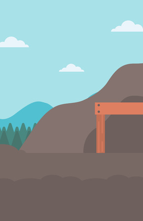 Background of entrance to the mining tunnel vector flat design illustration. Vertical layout.