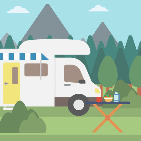 motorhome: Background of motorhome in the forest vector flat design illustration. Square layout.