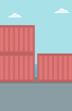 wharf: Background of shipping containers in port vector flat design illustration. Vertical layout.