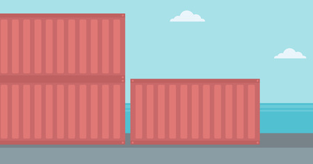 Background of shipping containers in port vector flat design illustration. Horizontal layout.