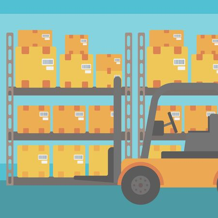 Background of Forklift truck and cardboard boxes in warehouse vector flat design illustration. Square layout.