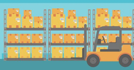 Background of Forklift truck and cardboard boxes in warehouse vector flat design illustration. Horizontal layout.
