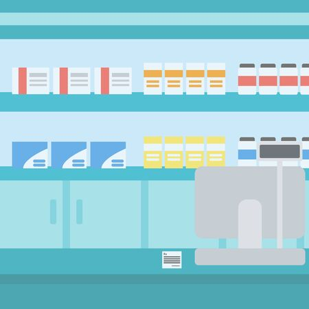 Background of pharmacy with counter vector flat design illustration. Square layout.