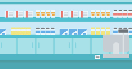 Background of pharmacy with counter vector flat design illustration. Horizontal layout. Иллюстрация
