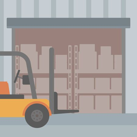 stockpile: Background of Forklift truck and cardboard boxes in warehouse vector flat design illustration. Square layout.