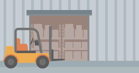 Contexte de camions et de boîtes en carton élévateur dans le vecteur d'entrepôt design plat illustration. Présentation horizontale.