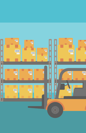 stockpile: Background of Forklift truck and cardboard boxes in warehouse vector flat design illustration. Vertical layout.