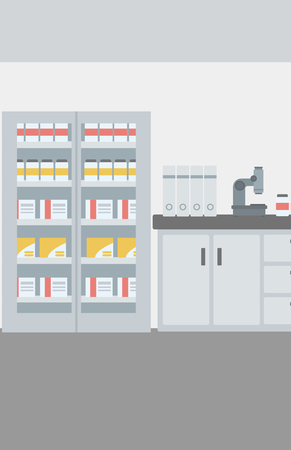 Background of laboratory interior vector flat design illustration. Vertical layout.