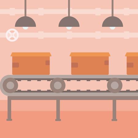 Arrière-plan de la bande transporteuse avec des boîtes en carton plat vecteur pour la conception illustration. layout Square.