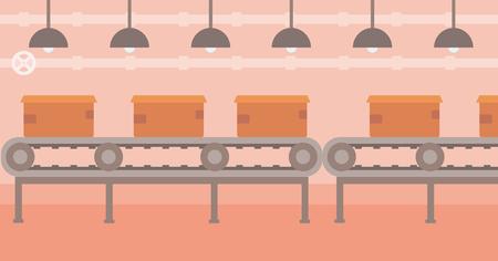 Background of conveyor belt with cardboard boxes vector flat design illustration. Horizontal layout.
