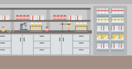 Background of laboratory interior vector flat design illustration. Horizontal layout. Иллюстрация