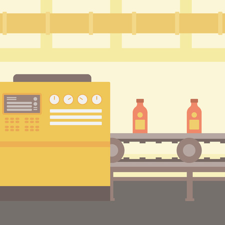 pasteurization: Background of conveyor belt with bottles vector flat design illustration. Square layout.