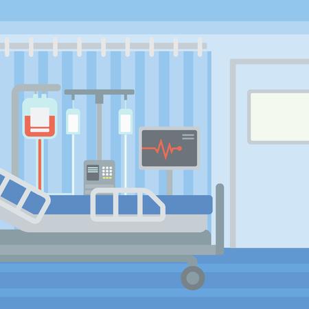 Antecedentes de la sala de hospital con cama y equipo médico de vector diseño plano. de planta cuadrada.