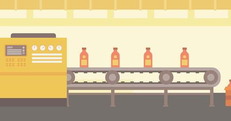 Tło taśmociągu z butelek wektor płaska ilustracji. układ poziomy.