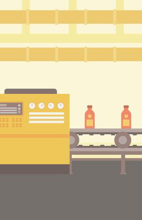 pasteurization: Background of conveyor belt with bottles vector flat design illustration. Vertical layout.