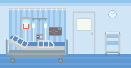 Antecedentes de la sala de hospital con cama y equipo médico de vector diseño plano. disposición horizontal.