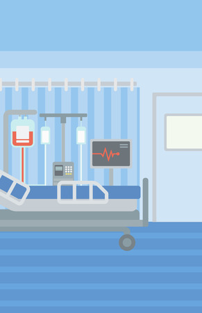 infirmary: Background of hospital ward with bed and medical equipment vector flat design illustration. Vertical layout.
