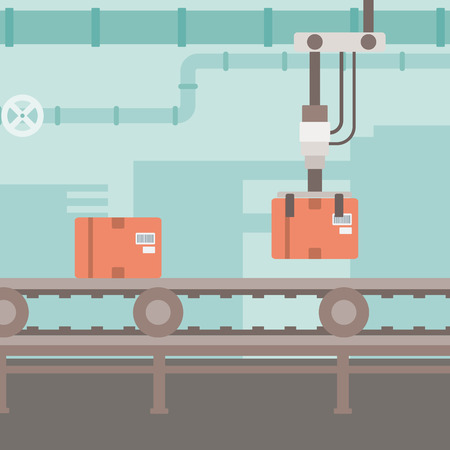 conveyor system: Background of conveyor belt with robot arm and boxes vector flat design illustration. Square layout. Illustration